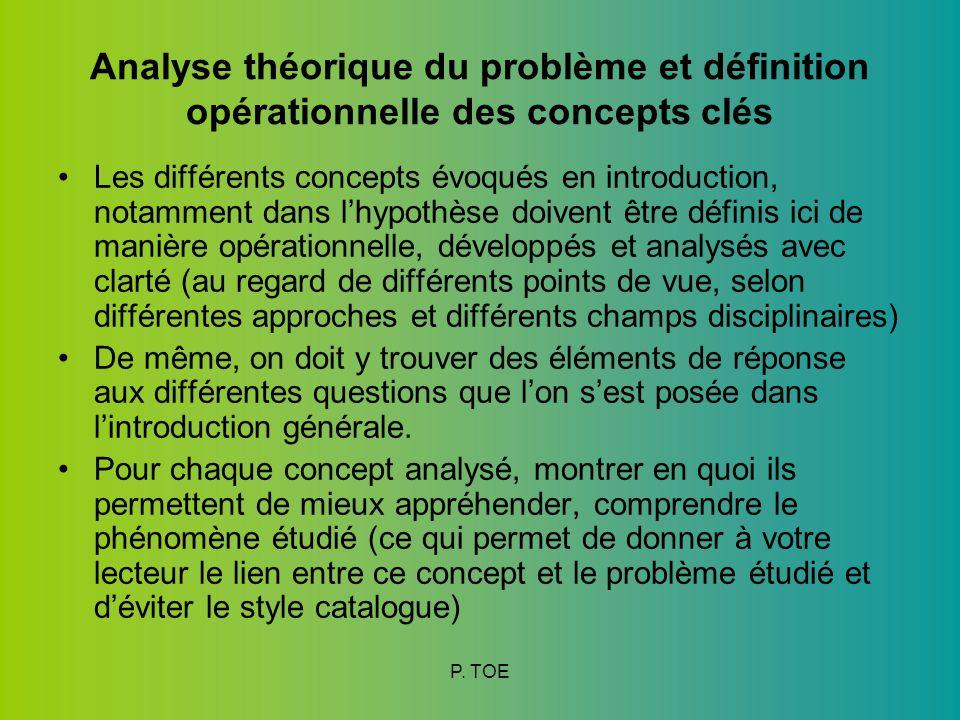 Analyse théorique du problème et définition opérationnelle des concepts clés