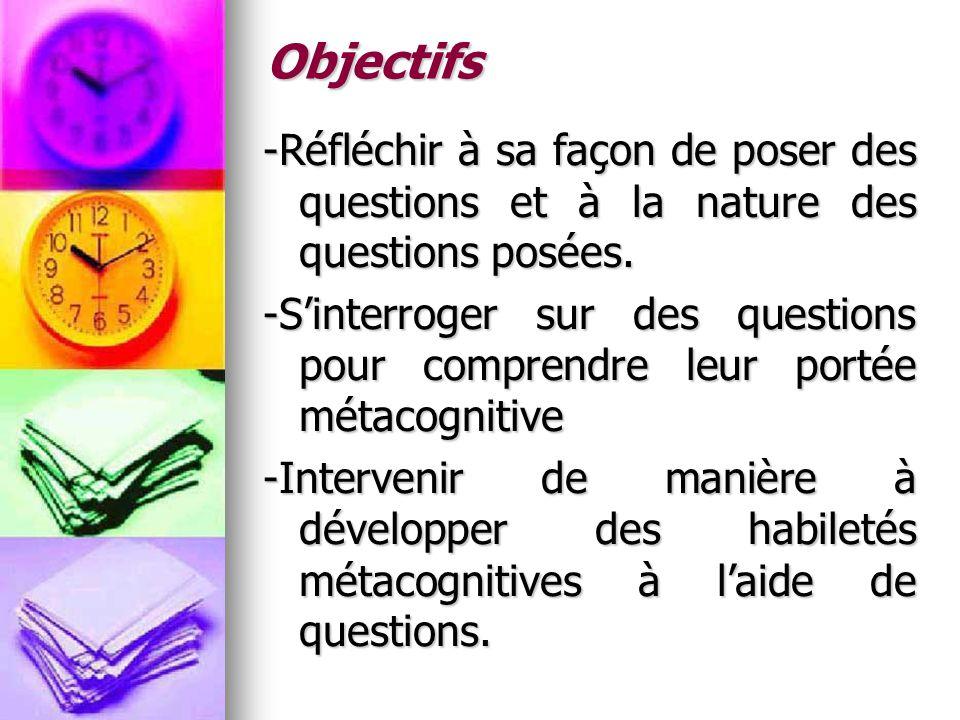Objectifs -Réfléchir à sa façon de poser des questions et à la nature des questions posées.