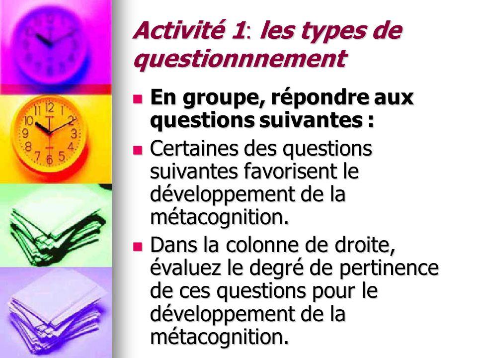 Activité 1: les types de questionnnement