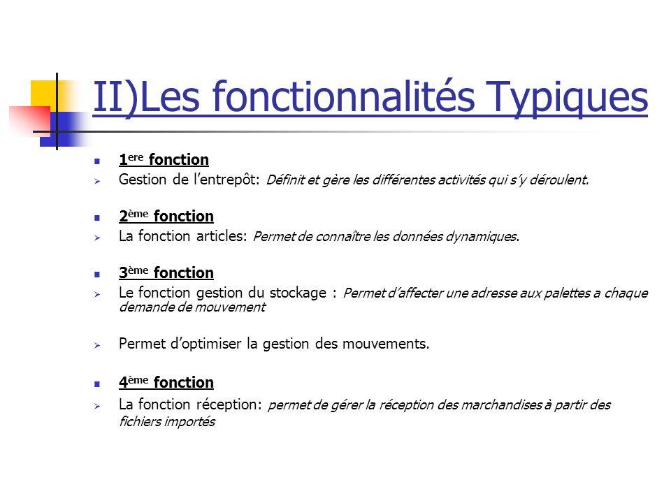 II)Les fonctionnalités Typiques