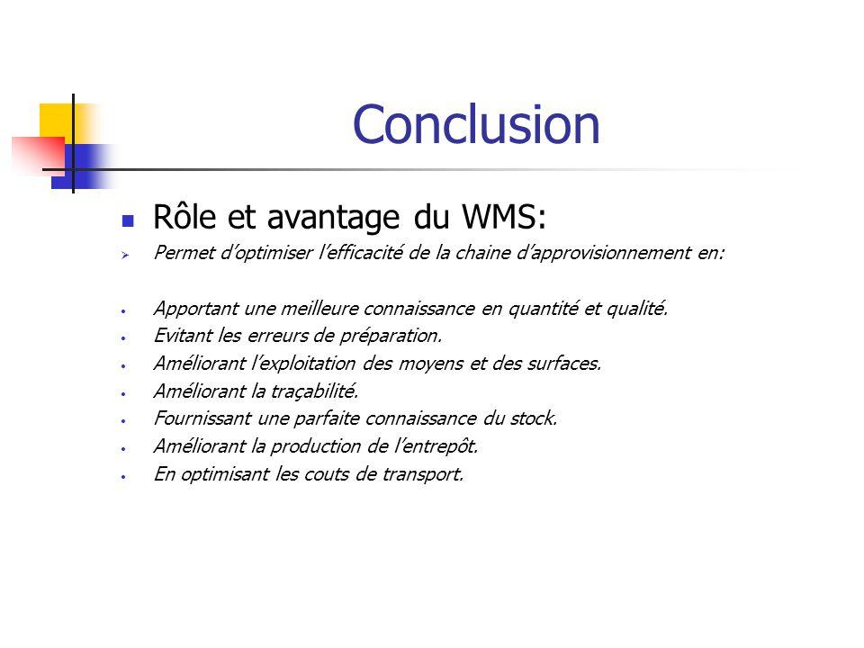 Conclusion Rôle et avantage du WMS: