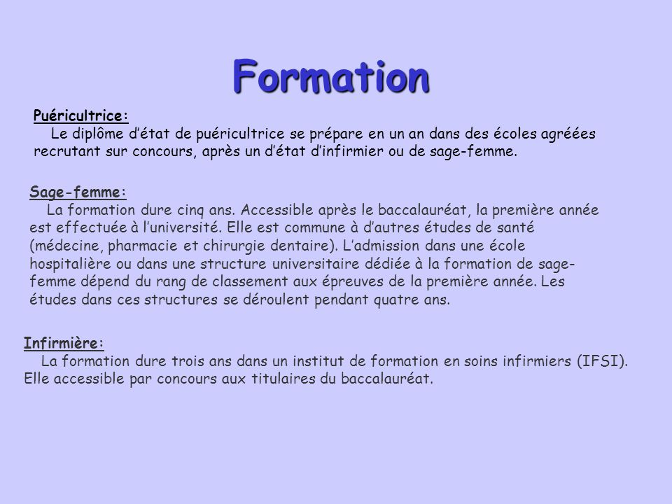 Formation Puéricultrice: