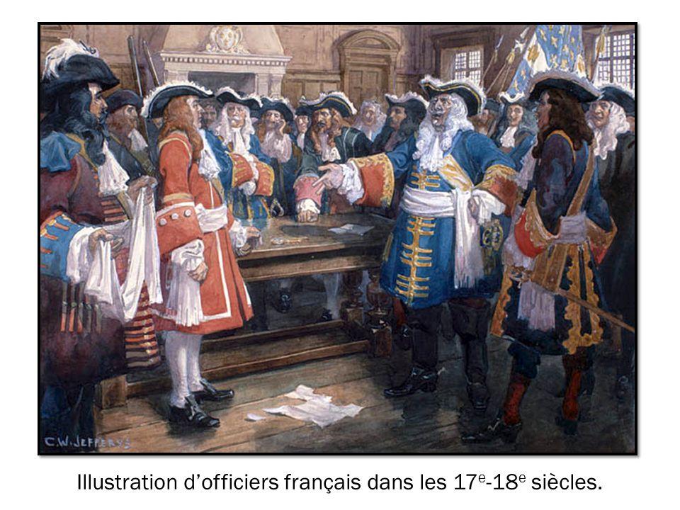 Illustration d'officiers français dans les 17e-18e siècles.