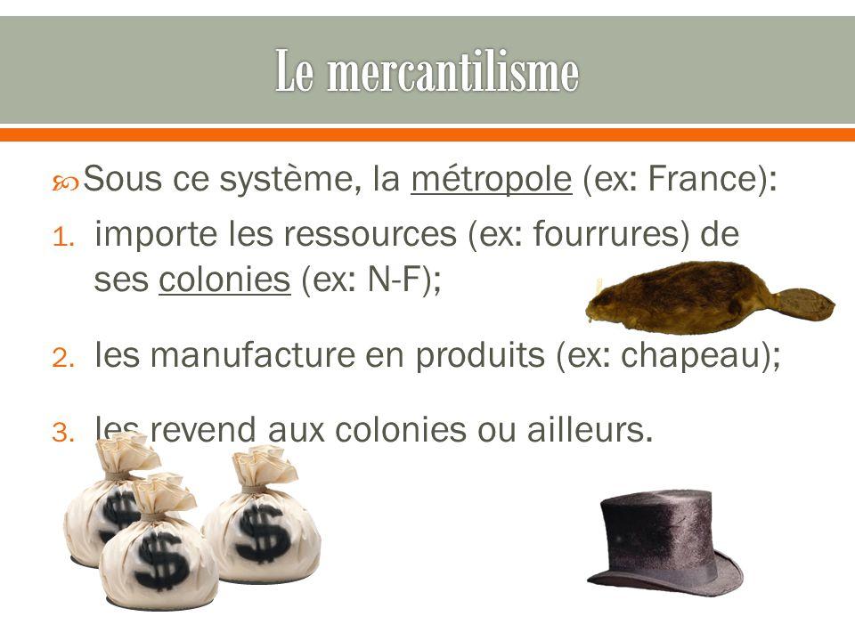 Le mercantilisme Sous ce système, la métropole (ex: France):