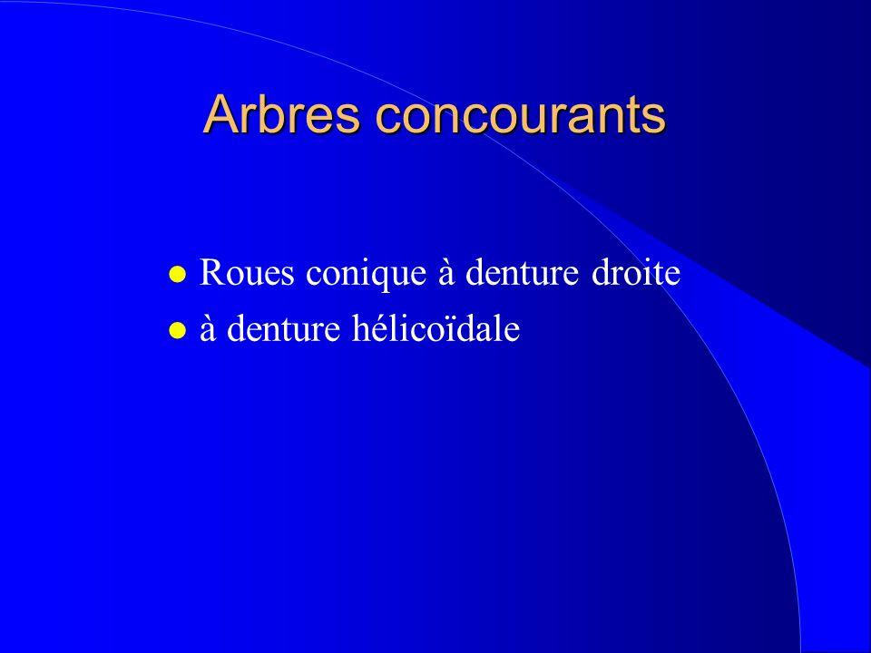 Arbres concourants Roues conique à denture droite