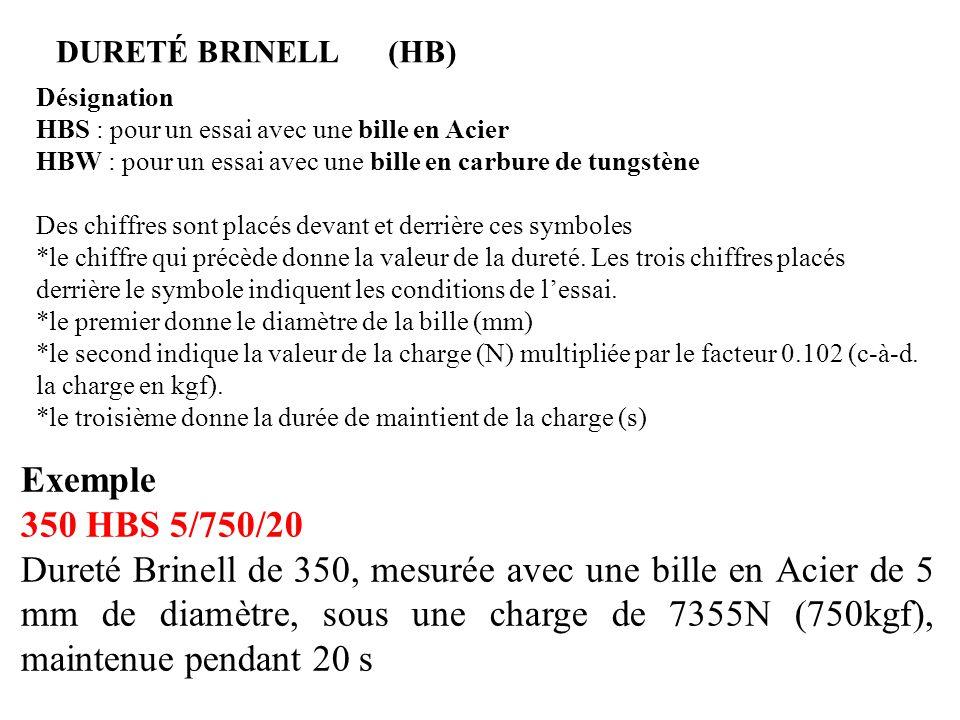 DURETÉ BRINELL (HB) Désignation. HBS : pour un essai avec une bille en Acier. HBW : pour un essai avec une bille en carbure de tungstène.