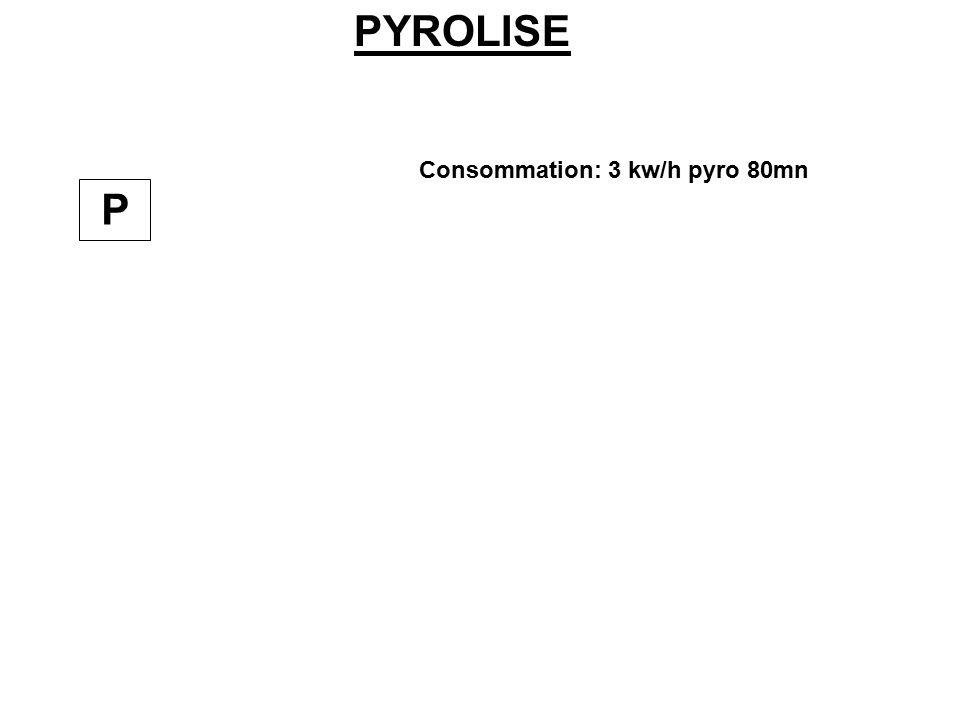PYROLISE Consommation: 3 kw/h pyro 80mn P