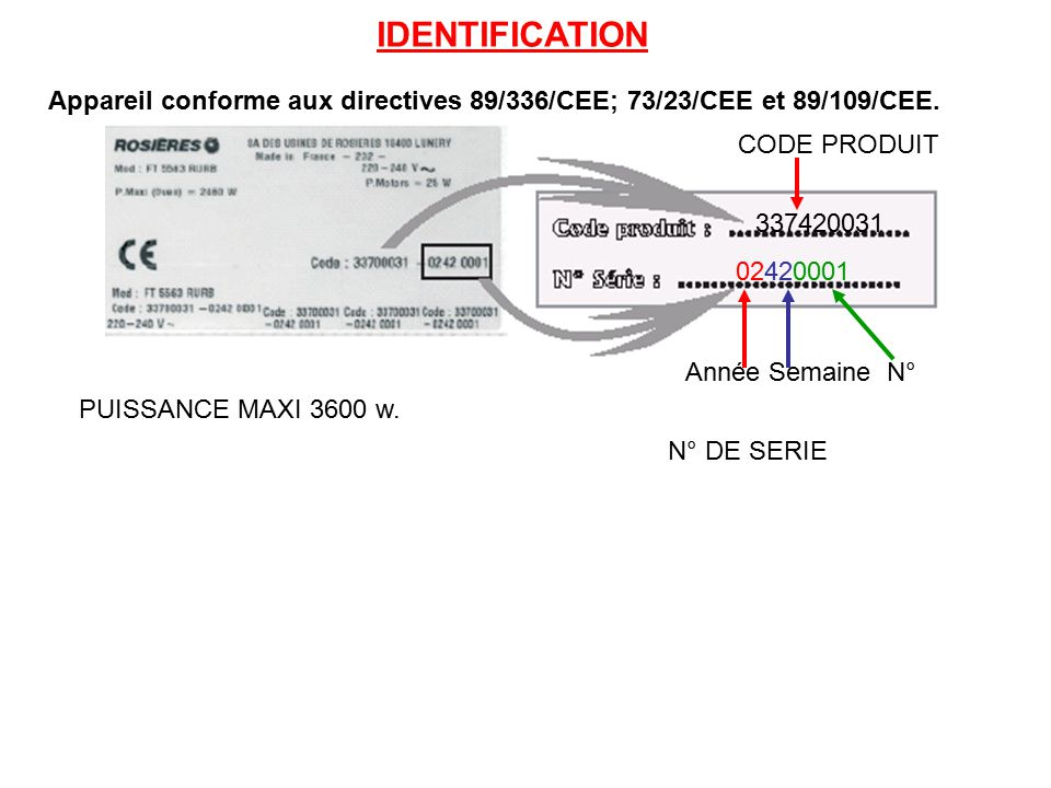 IDENTIFICATION Appareil conforme aux directives 89/336/CEE; 73/23/CEE et 89/109/CEE. CODE PRODUIT.