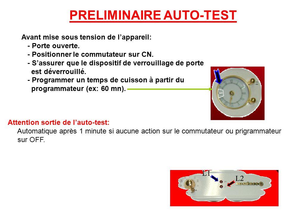 PRELIMINAIRE AUTO-TEST