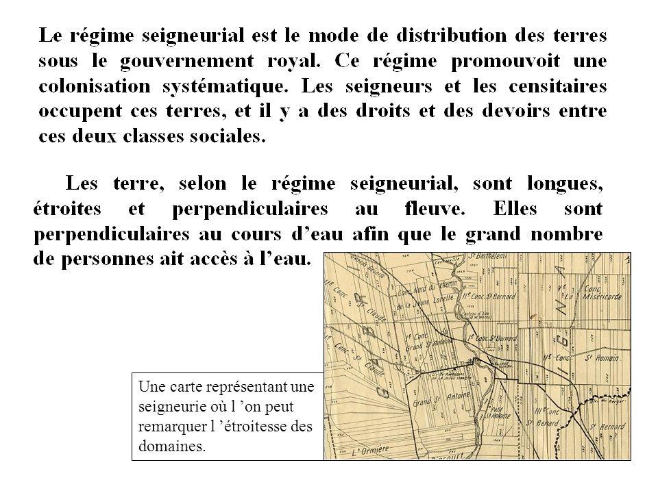 Une carte représentant une seigneurie où l 'on peut remarquer l 'étroitesse des domaines.