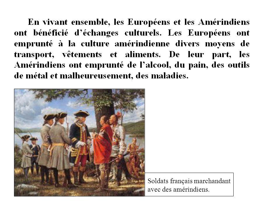 Soldats français marchandant avec des amérindiens.