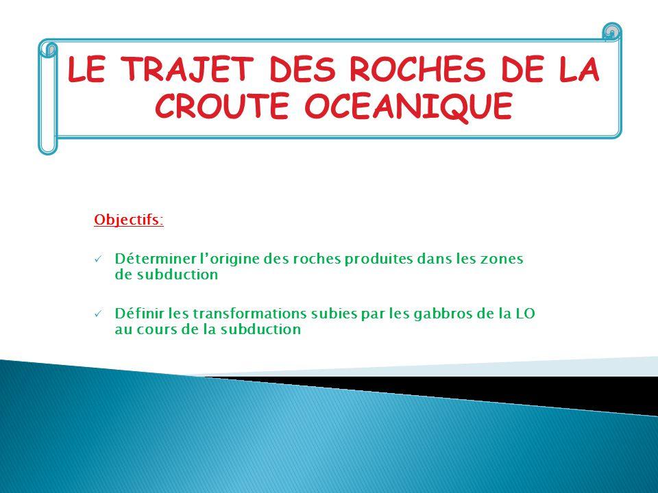 LE TRAJET DES ROCHES DE LA CROUTE OCEANIQUE
