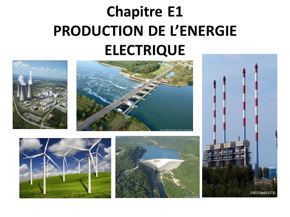 Chapitre E1 PRODUCTION DE L'ENERGIE ELECTRIQUE