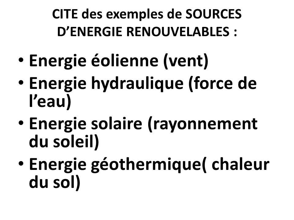 CITE des exemples de SOURCES D'ENERGIE RENOUVELABLES :