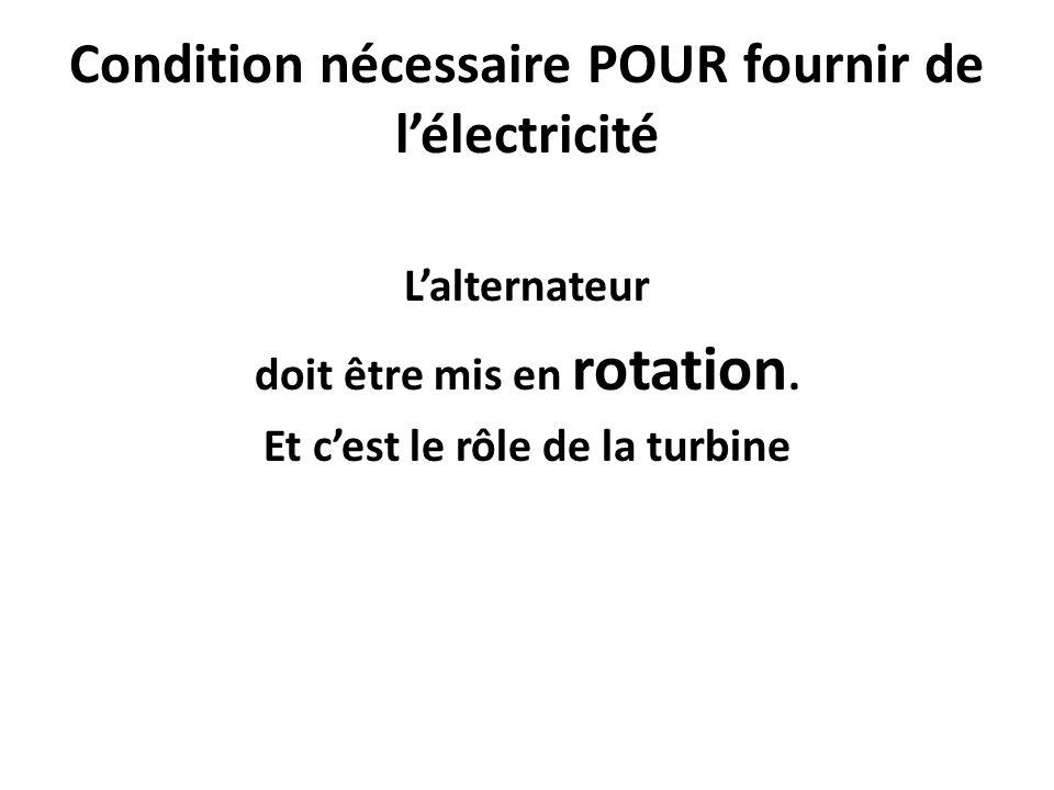 Condition nécessaire POUR fournir de l'électricité