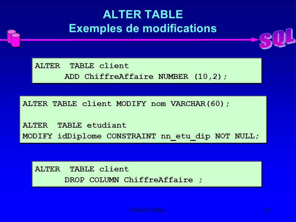 Le langage sql introduction ppt t l charger - Alter table modify column ...