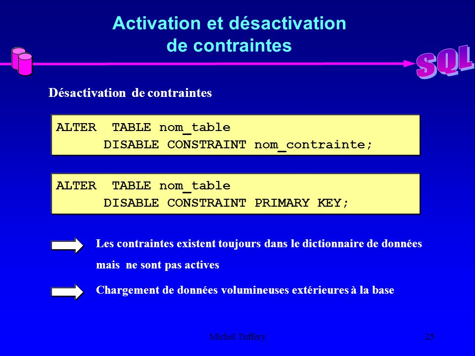 Le langage sql introduction ppt t l charger - Alter table add constraint primary key ...