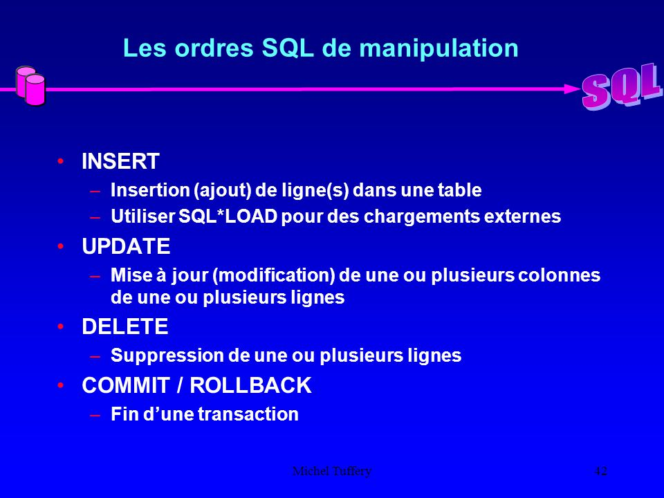 le langage sql introduction ppt t l charger. Black Bedroom Furniture Sets. Home Design Ideas