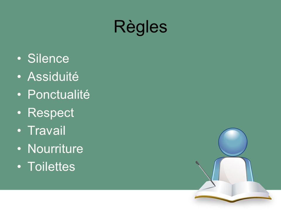 Règles Silence Assiduité Ponctualité Respect Travail Nourriture