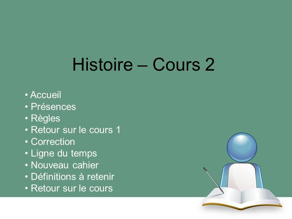 Histoire – Cours 2 Accueil Présences Règles Retour sur le cours 1