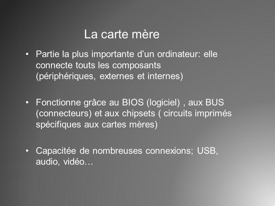 La carte mère Partie la plus importante d'un ordinateur: elle connecte touts les composants (périphériques, externes et internes)