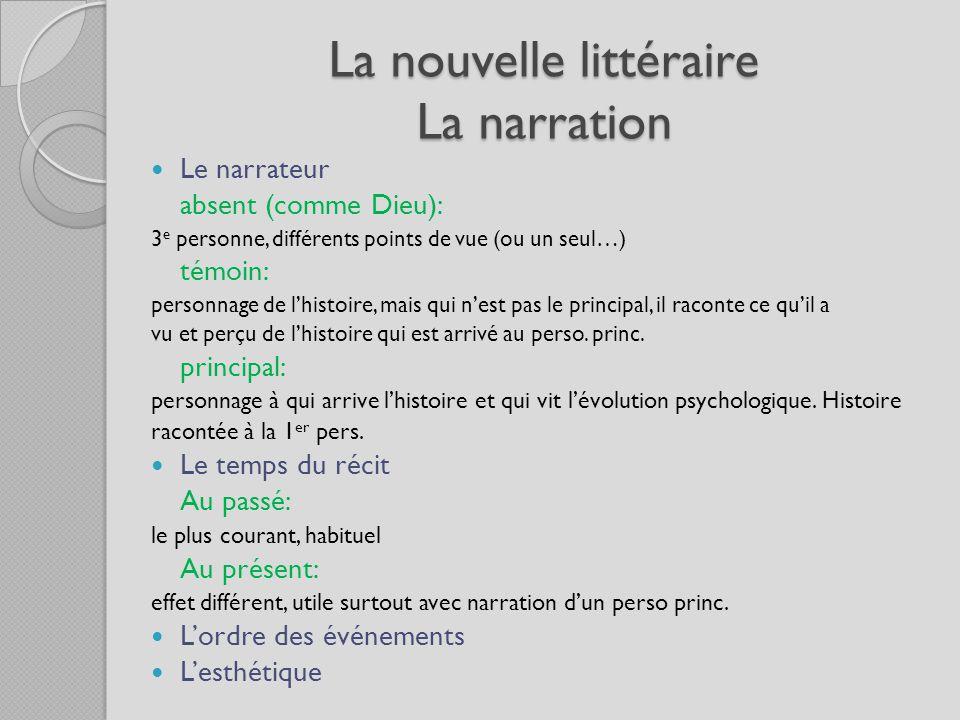La nouvelle littéraire La narration