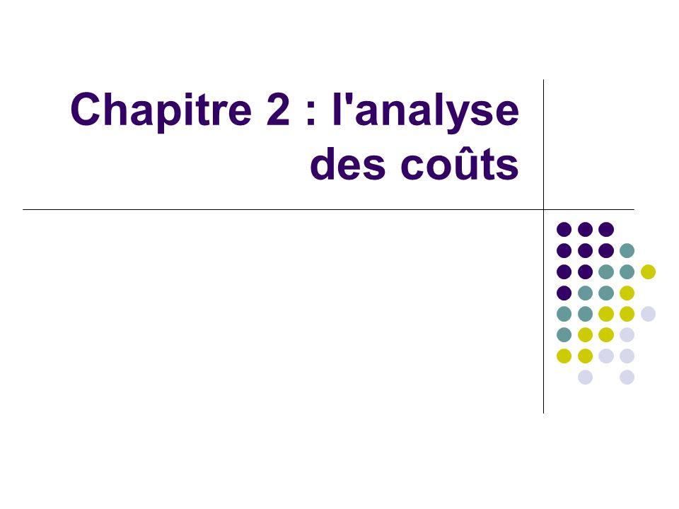 Chapitre 2 : l analyse des coûts