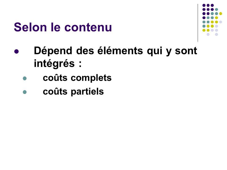 Selon le contenu Dépend des éléments qui y sont intégrés :