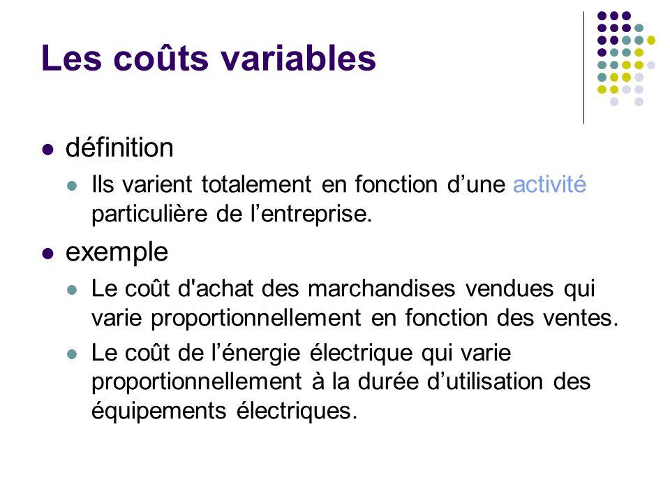 Les coûts variables définition exemple