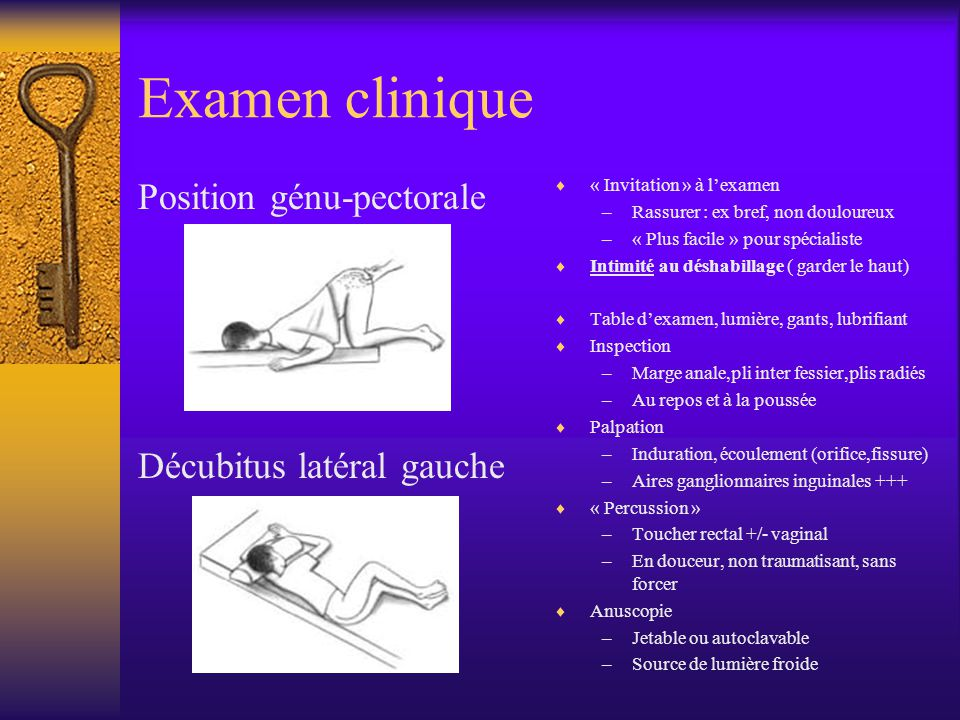 Examen clinique Position génu-pectorale Décubitus latéral gauche