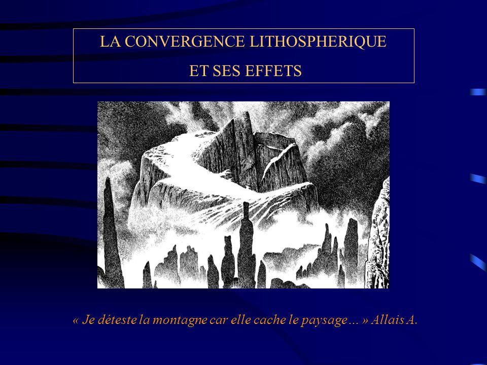 LA CONVERGENCE LITHOSPHERIQUE ET SES EFFETS