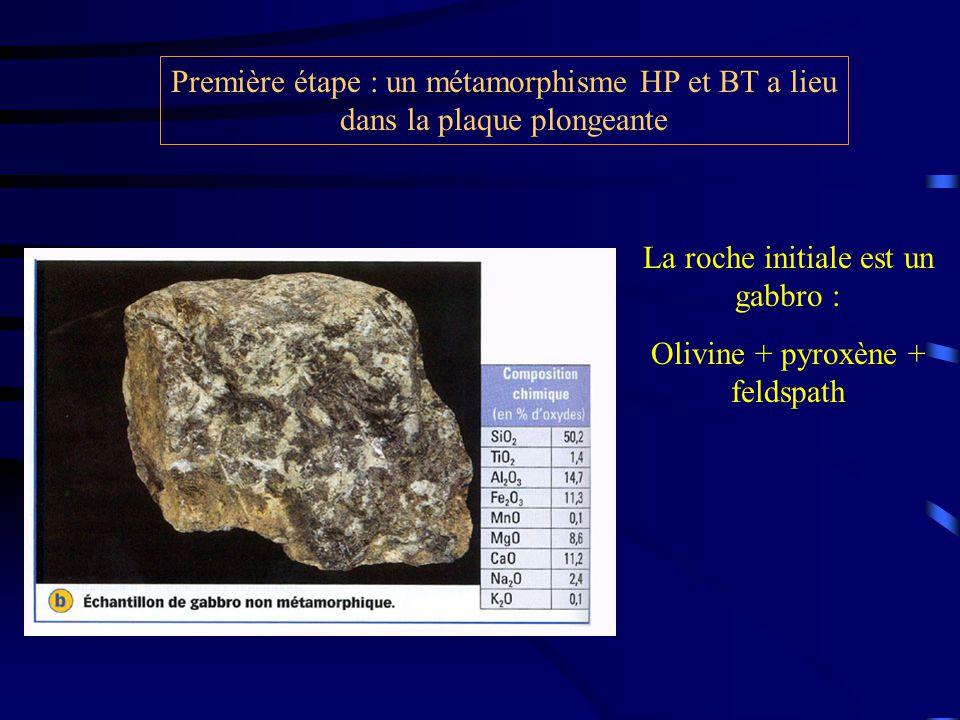 La roche initiale est un gabbro : Olivine + pyroxène + feldspath