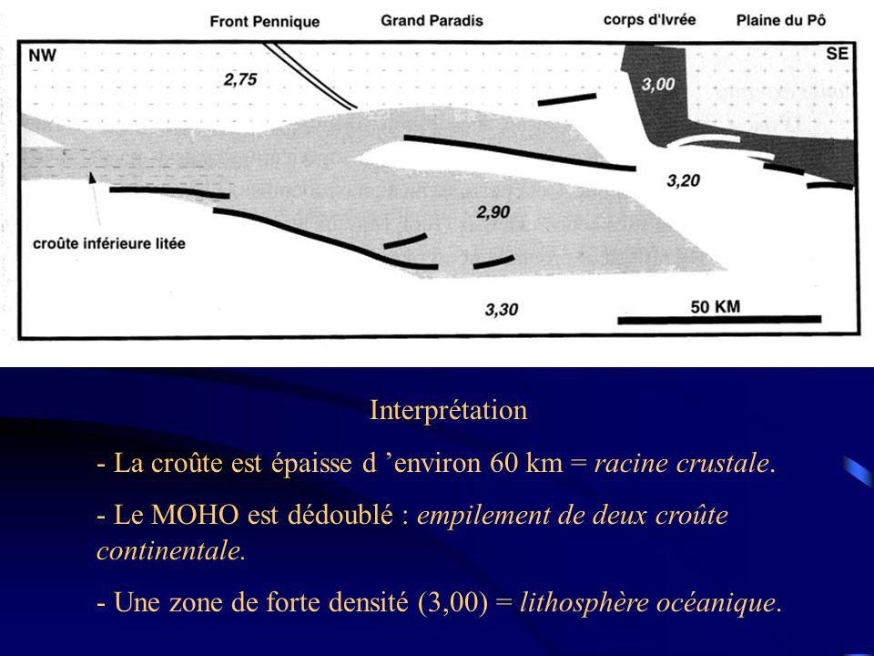 Interprétation - La croûte est épaisse d 'environ 60 km = racine crustale. - Le MOHO est dédoublé : empilement de deux croûte continentale.
