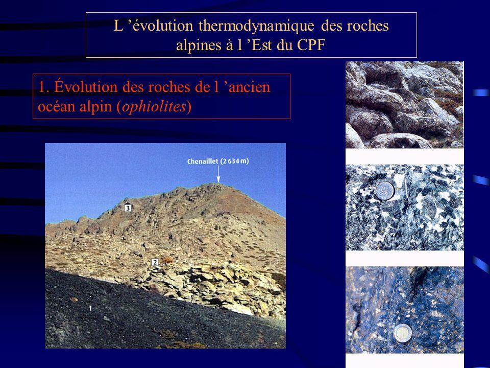 L 'évolution thermodynamique des roches alpines à l 'Est du CPF
