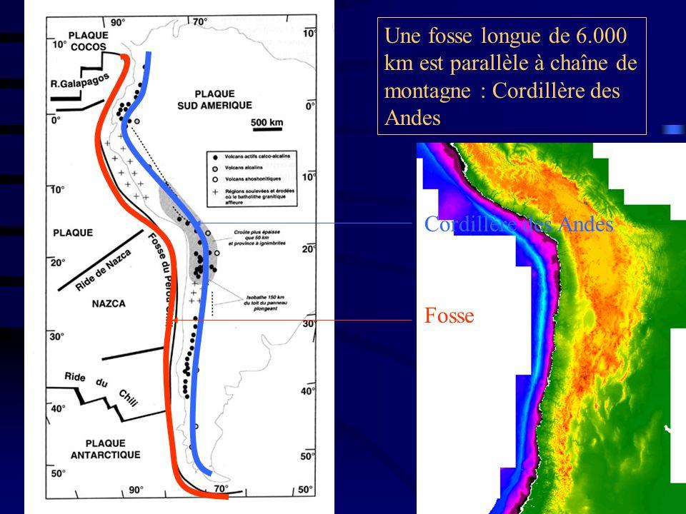 Une fosse longue de 6.000 km est parallèle à chaîne de montagne : Cordillère des Andes