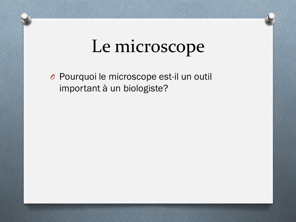 Le microscope Pourquoi le microscope est-il un outil important à un biologiste