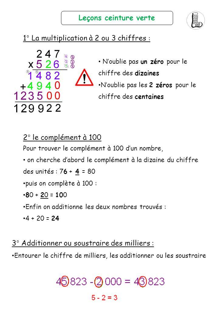 1° La multiplication à 2 ou 3 chiffres :