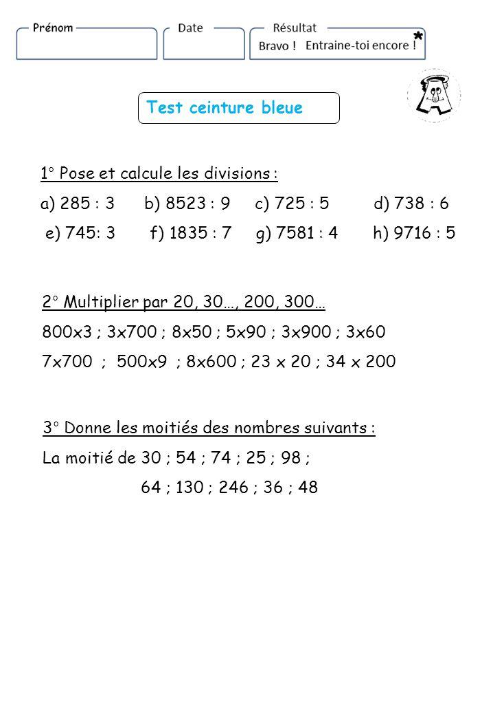 Test ceinture bleue 1° Pose et calcule les divisions : a) 285 : 3 b) 8523 : 9 c) 725 : 5 d) 738 : 6.