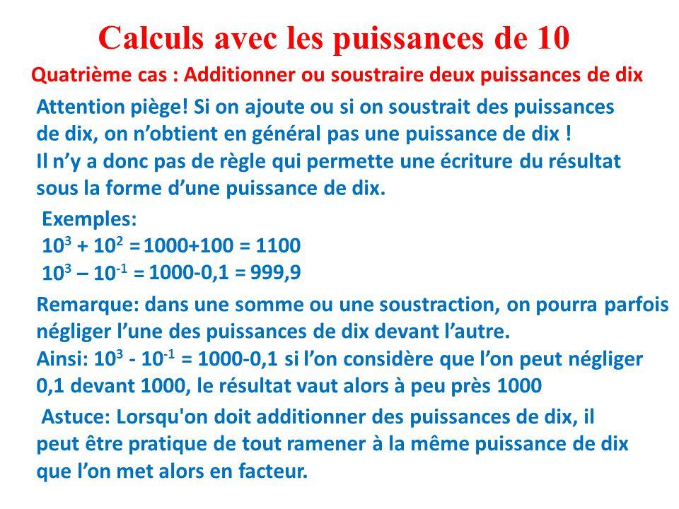 Calculs avec les puissances de 10