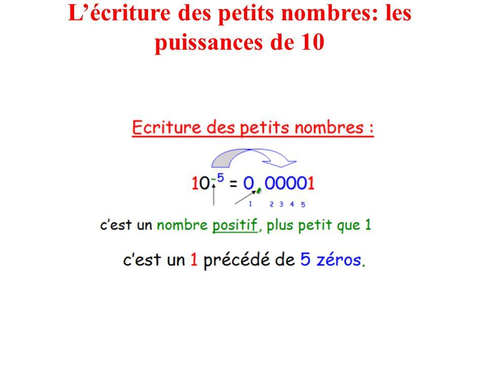 L'écriture des petits nombres: les puissances de 10