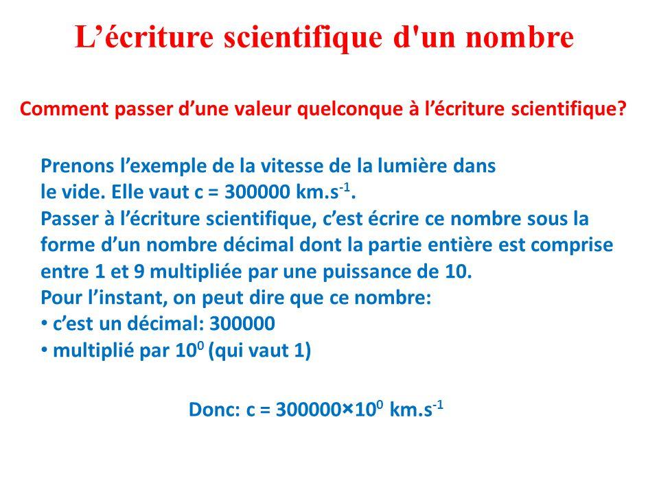 L'écriture scientifique d un nombre