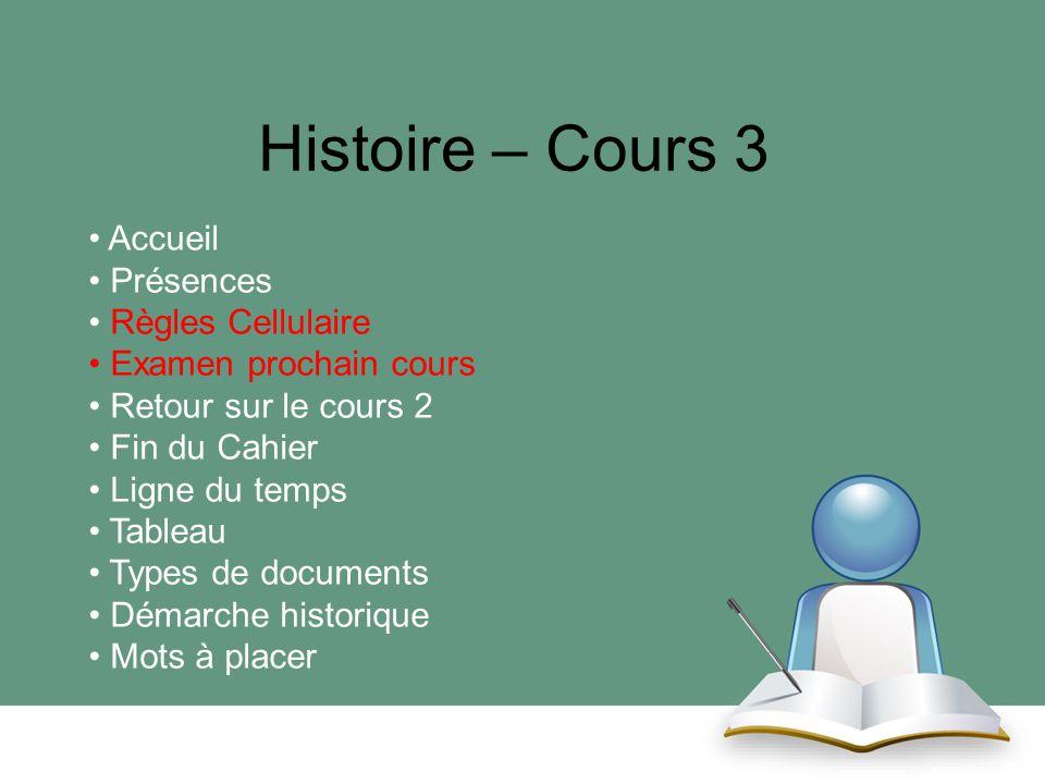 Histoire – Cours 3 Accueil Présences Règles Cellulaire