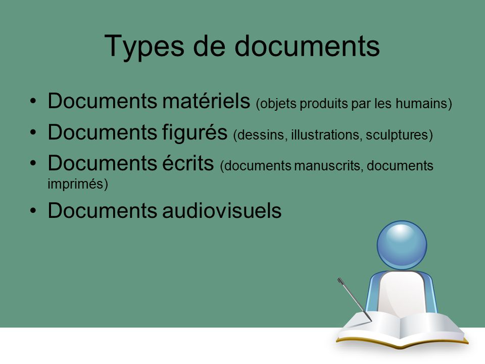 Types de documents Documents matériels (objets produits par les humains) Documents figurés (dessins, illustrations, sculptures)