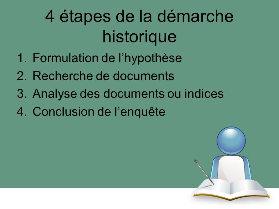 4 étapes de la démarche historique