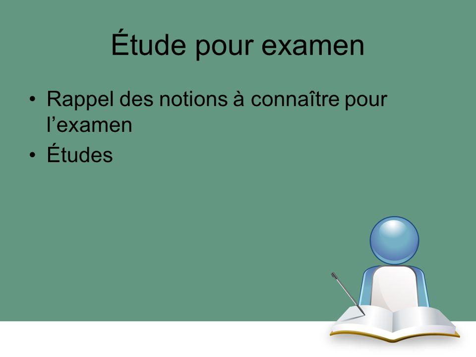 Étude pour examen Rappel des notions à connaître pour l'examen Études