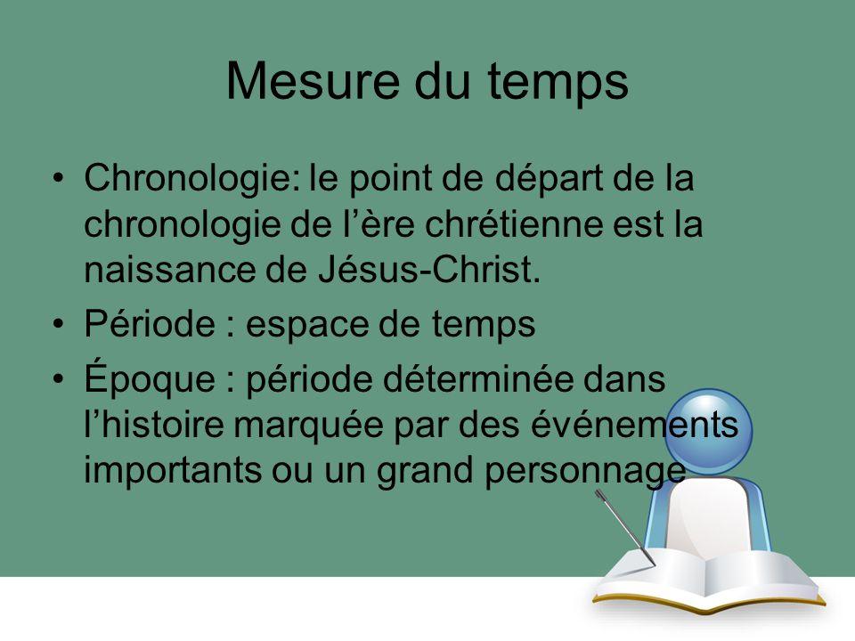 Mesure du temps Chronologie: le point de départ de la chronologie de l'ère chrétienne est la naissance de Jésus-Christ.