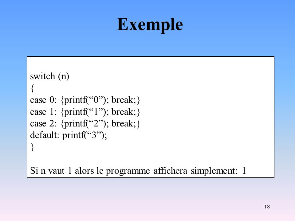 Exemple switch (n) { case 0: {printf( 0 ); break;}