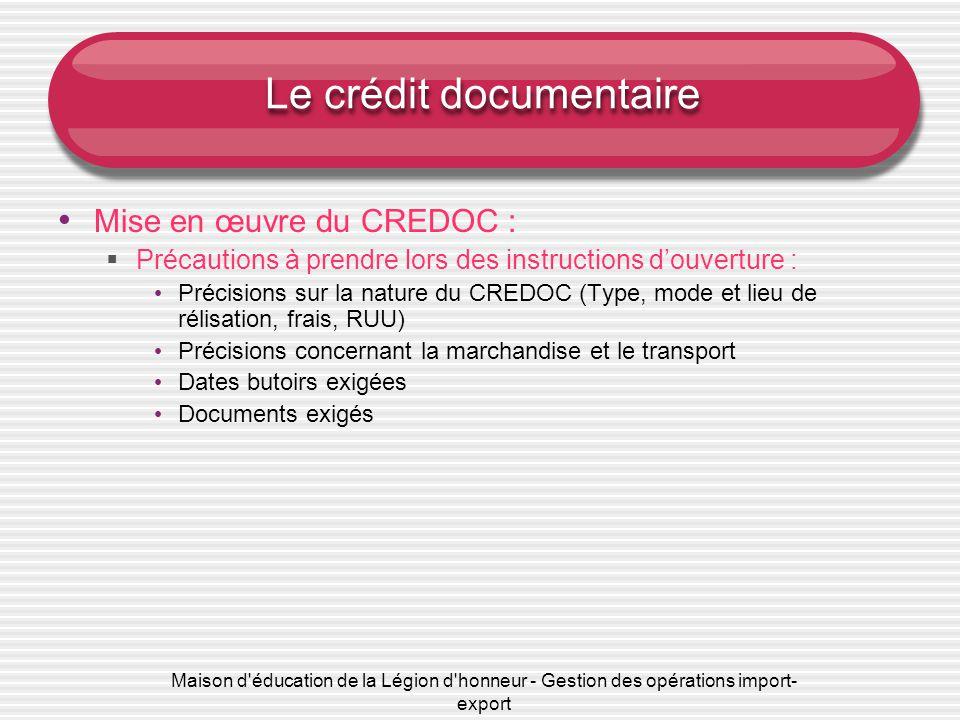 Les techniques de paiement documentaires chapitre ppt - Frais de garantie credit logement ...