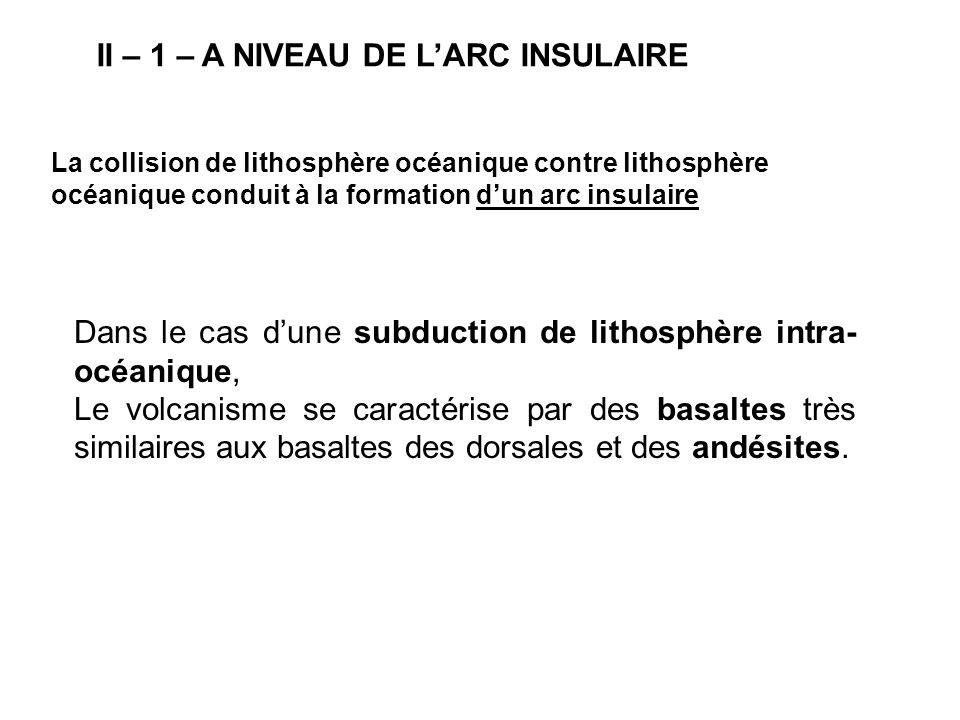 II – 1 – A NIVEAU DE L'ARC INSULAIRE