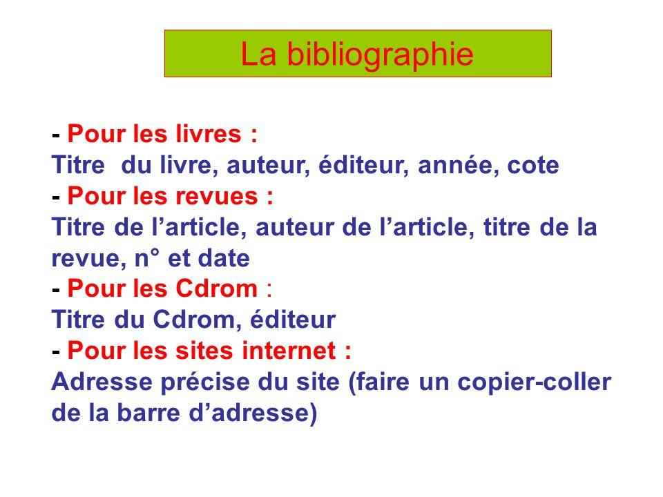 La bibliographie - Pour les livres :
